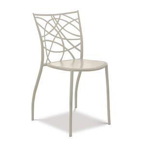 Julie silla, Silla de hierro apilable, espalda cortado con láser
