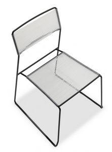 Log spaghetti, Metal silla apilable, asiento y respaldo de la cuerda de PVC, también para uso en exteriores