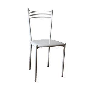 Zara, Silla en metal lacado blanco, asiento de cuero de imitación