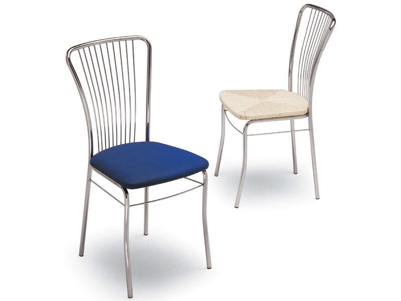 73, Silla de metal pintado, asiento tapizado, para el hogar