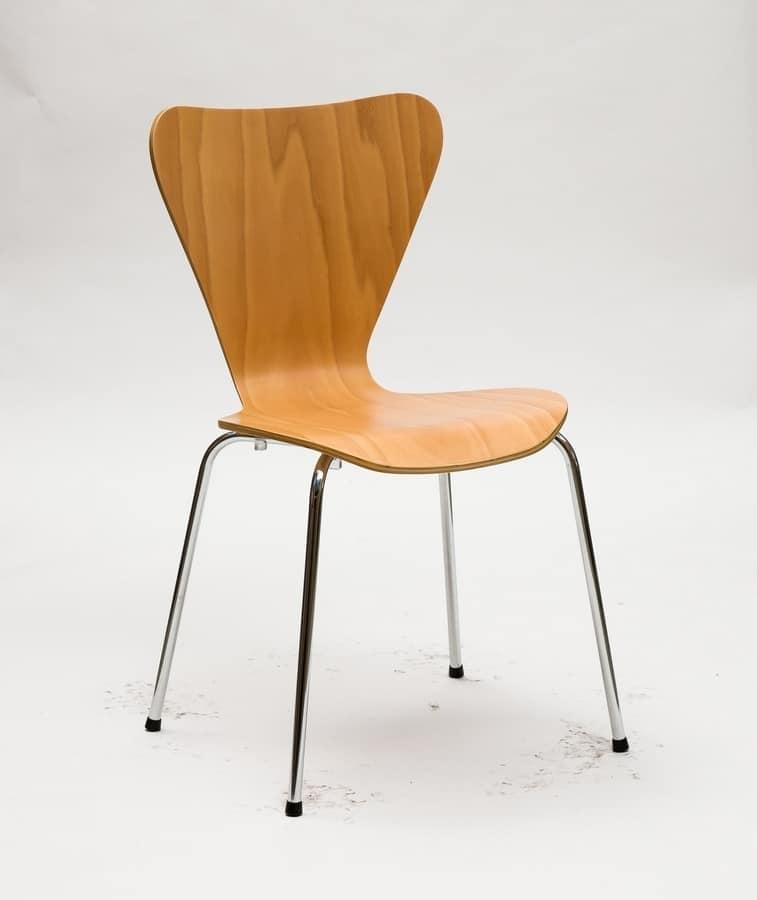Art. 054 Triannon, Silla de metal, asiento en madera natural o lacada
