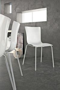 ARIA EASY, Silla apilable moderna, en metal y plástico, para la cocina y el bar