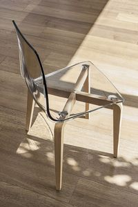 BERLINO SE506, Silla con estructura de madera, asiento de policarbonato, estilo moderno