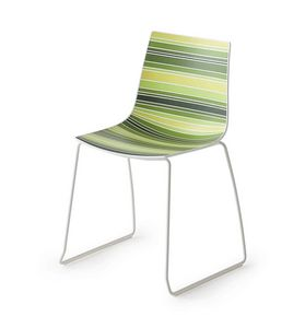 Colorfive S, Silla design con patas de metal, base de trineo de metal