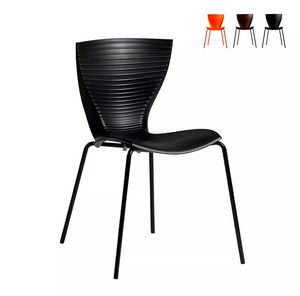 Slide Gloria sillas de diseño moderno para cocina bar restaurante y jardín SD GLR080, Silla moderna en polipropileno y metal.