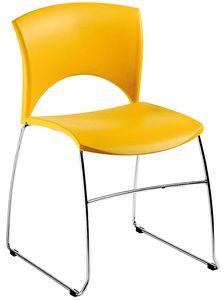 Sole, Silla en metal y polipropileno, para espera y conferencias