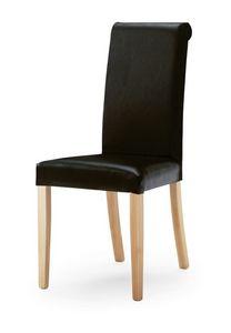 0320/R, Silla tapizada con respaldo alto y patas de madera