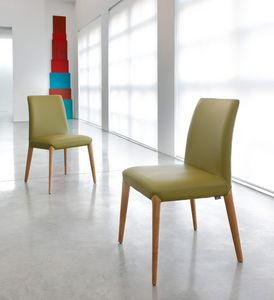ART. 253 INES, Silla de madera, tapizado en cuero o tela