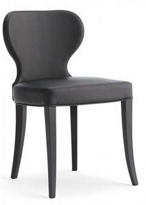 D07, Silla de madera con asiento acolchado y la espalda, cubierta de piel sintética, por contrato y uso doméstico