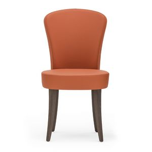 Euforia 00111, Silla moderna de madera maciza, asiento y respaldo tapizados