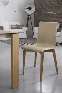 GLAMOUR WOOD SE135, Silla de madera maciza, asiento y respaldo tapizados, en estilo moderno