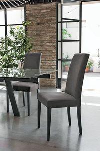LUGANO SE504, Silla con base de madera, asiento acolchado y la espalda, cubierta de tela, con un estilo moderno