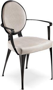 Miss silla con reposabrazos y respaldo acolchado, Silla acolchada con estructura de hierro