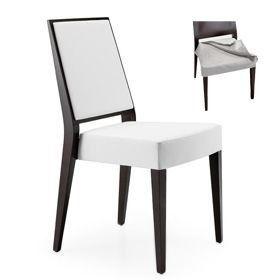 Timberly 01715, Silla apilable, estructura de madera maciza, asiento y respaldo tapizados, asientos de tela extraíble, para los comedores