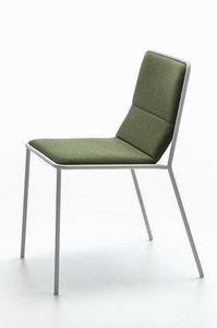 Tres, Silla moderna del metal con asiento tapizado, luz