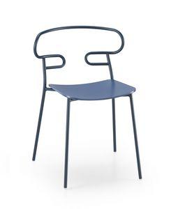 ART. 0047-MET GENOA, Silla con asiento de madera y respaldo perforado