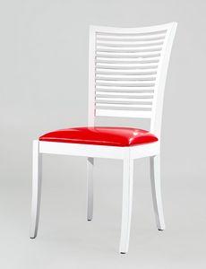 BS220S - Silla, Silla de madera con asiento de cuero.
