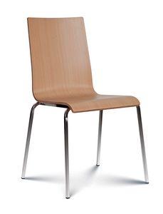Caprice madera, Silla apilable con asiento y respaldo de madera.