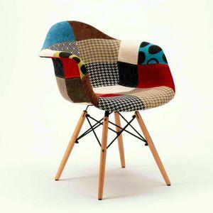 Las sillas de madera daw PATCHWORK madera ideal para bar salón y pub - SP620PPP, Silla patchwork en madera y tela