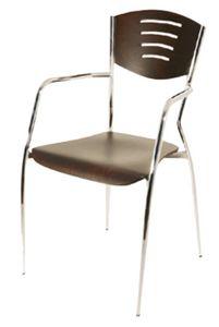 PL 103, Silla de madera con patas de metal cromado