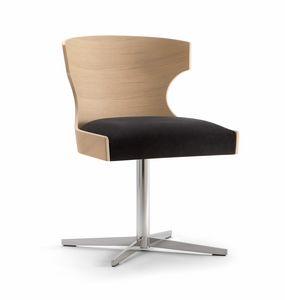 XIE SIDE CHAIR 052 S X, Silla con base en cruz, asiento tapizado