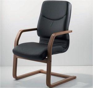 UF 531 / S - WOOD, Silla patín con marco de madera y asiento tapizado ideales para oficinas ejecutivas