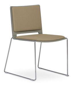 Easy Soft 01, Acolchada silla apilable, metal y plástico