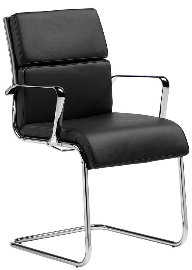 Cómoda silla para visitas de oficina, con cojines de cuero | IDFdesign