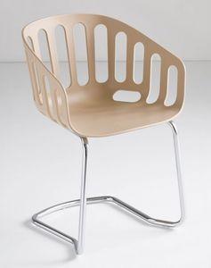 Basket Chair CTL, Silla de visita, base de metal, cáscara de tecnopolímero