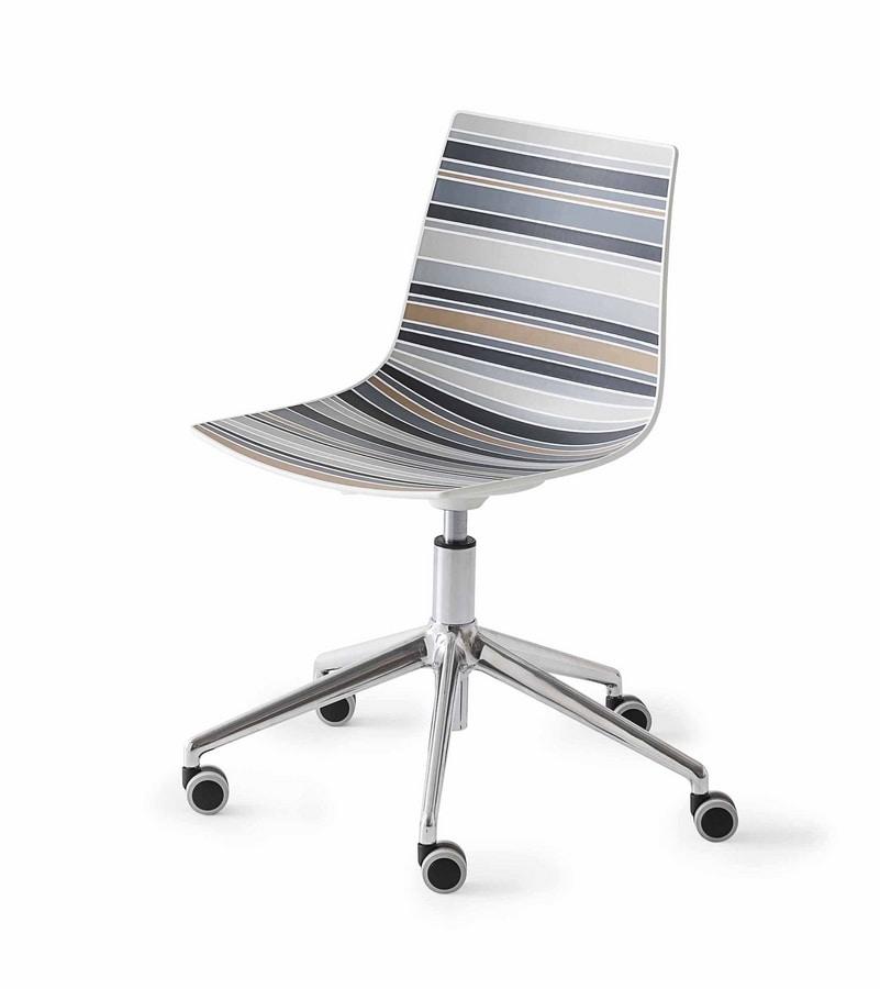Colorfive 5R, Diseño de la silla, base metálica con ruedas, concha multicolor