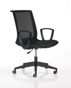 Key negro, Silla de trabajo ajustable, con ruedas, la oficina moderna