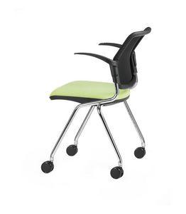 NESTING DELFINET 074 R, Silla con ruedas y apoyabrazos ideal para oficinas operativas