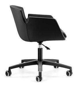 NUBIA 2905, Silla tapizada, base de aluminio con ruedas para oficina