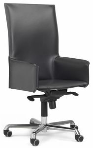 Pasqualina sillón alta giratorio 10.0093, Silla de oficina con ruedas, con respaldo alto.