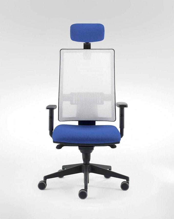 UF 491 A, Silla de oficina moderna con sistema de deslizamiento del asiento
