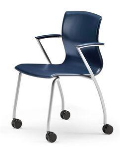 WEBTOP 384 R, Silla de metal con ruedas, asiento cubierto en cuero