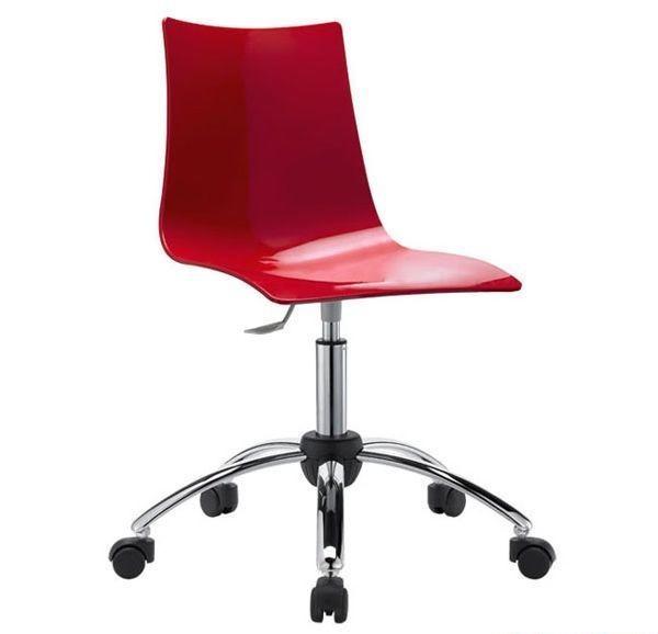 Zebra, Silla giratoria y regulable para oficina, asiento de policarbonato