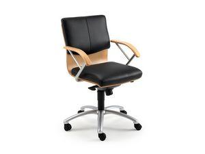 Ducale Lux executive 46320, Sillón de oficina con carcasa de madera y almohadillas de cuero