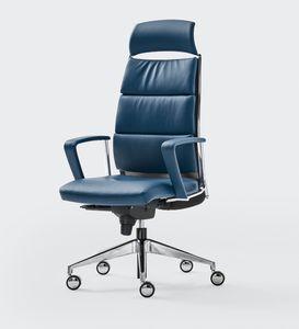 LINK XPLUS, Sillón tapizado para la oficina, respaldo alto, ideal para un uso prolongado