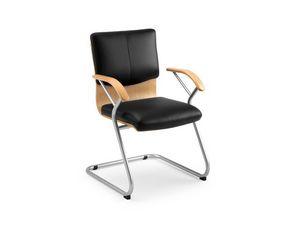 Ducale Lux guest 46340, Silla de oficina con carcasa de madera y almohadillas de cuero