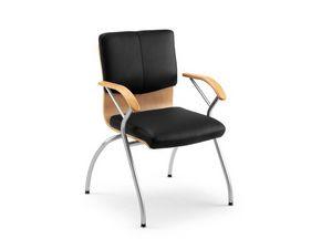 Ducale Lux guest 46360, Silla de oficina hecha de metal, madera y cuero