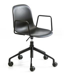 Mani plastic AR HO, Silla con ruedas para oficina, altura regulable
