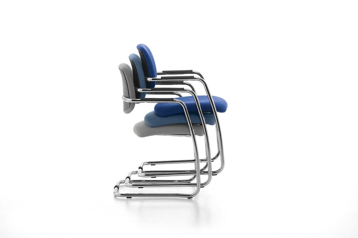 Samba 01, Silla patín en metal cromado para oficinas y salas de espera