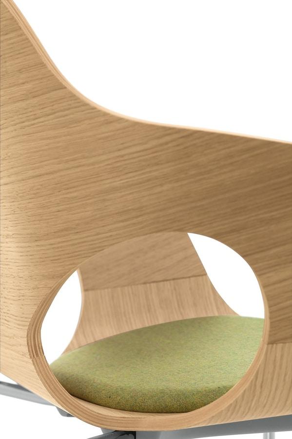 Spark Wood 02, Silla giratoria con elevación de gas, cáscara de madera