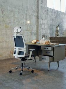 Omnia White Plus 01 PT, Silla de oficina elegante con reposacabezas