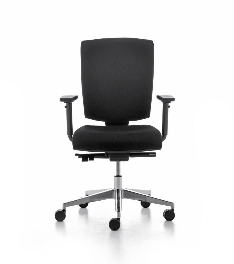 Pole 01 SY, Tarea silla con brazos y ruedas para oficina