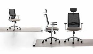 Tekna White 01 PT, Silla de oficina con estructura blanca.