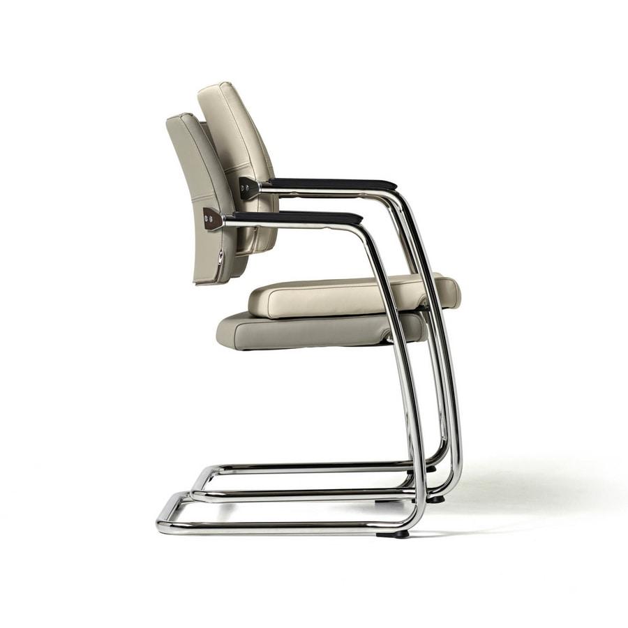 Venus chair, Silla de visita para los clientes, marco cromado, apilable