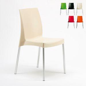 Bar empilable silla de interior al aire libre Boulevard – S3340, Silla de plástico, con patas de aluminio