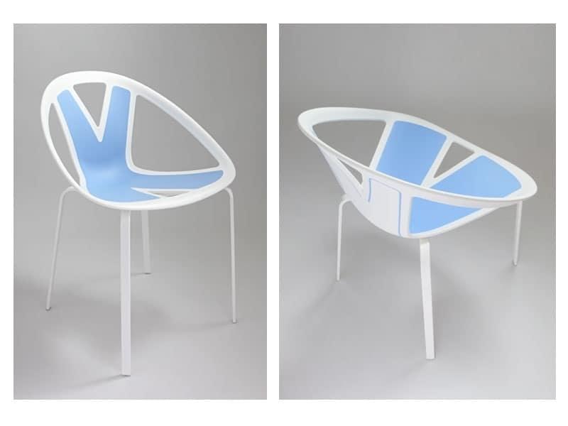 Extreme cod. 83, Silla con asiento en material plástico, por externa